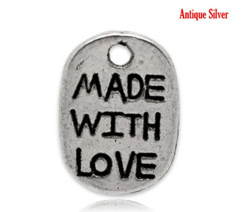 "50 Antique Silver ""Made with Love"" Oval Charms 11x8mm"